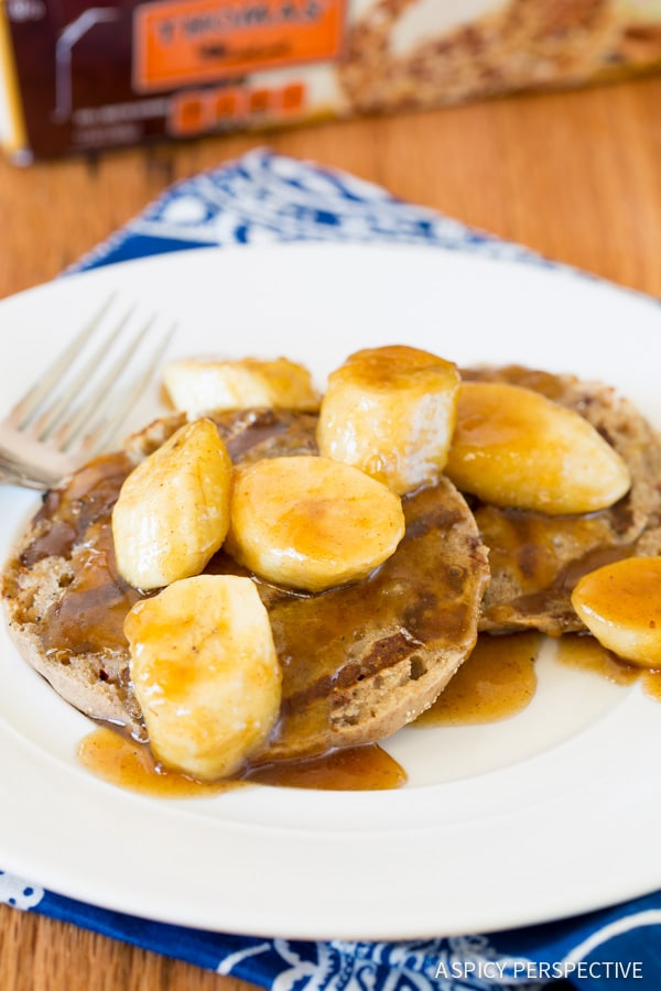 Moist and Decadent Grilled French Toast with Bananas Foster on ASpicyPerspective.com #camping #breakfast