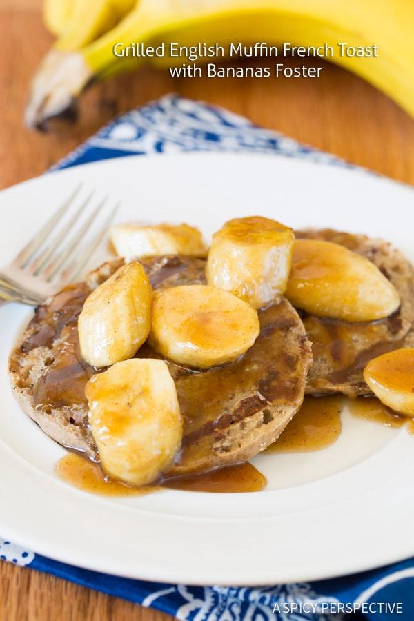 Easy Grilled French Toast with Bananas Foster on ASpicyPerspective.com