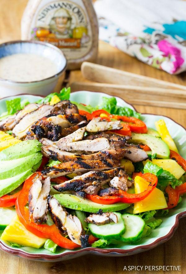 Best Jamaican Jerk Chicken Salad on ASpicyPerspective.com