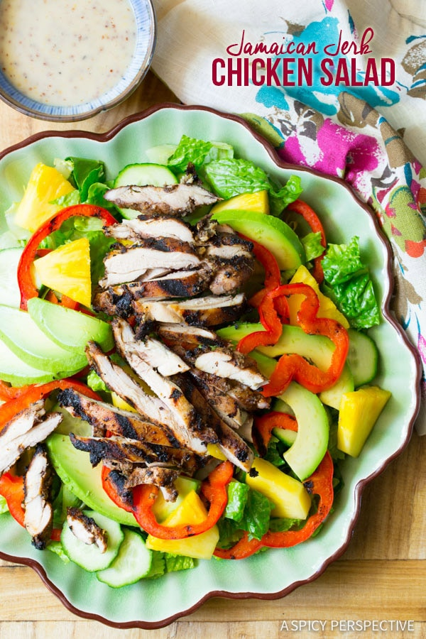 Must-Make Jamaican Jerk Chicken Salad on ASpicyPerspective.com