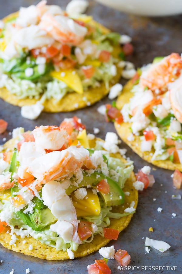 Must-Make Lobster Tostadas Recipe on ASpicyPerspective.com #lobster #mexican