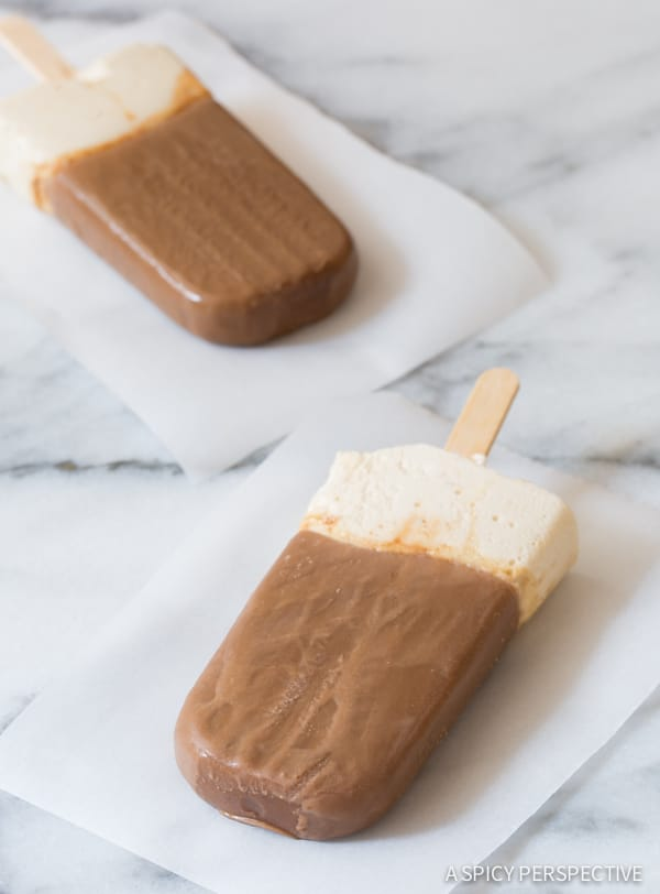 "Easy Paleo ""Frozen Hot Chocolate"" Pops on ASpicyPerspective.com #popsicles #paleo"