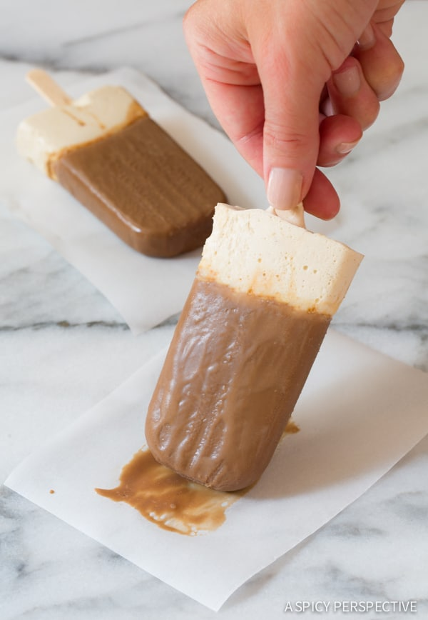 Paleo Frozen Hot Chocolate Popsicles on ASpicyPerspective.com
