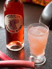 The Rhubarb Sparkler Cocktail on ASpicyPerspective.com #summer #cocktails