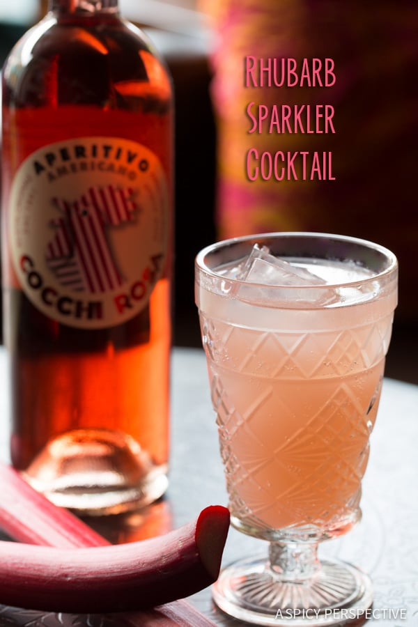 Rhubarb Sparkler Cocktail on ASpicyPerspective.com #summer #cocktails