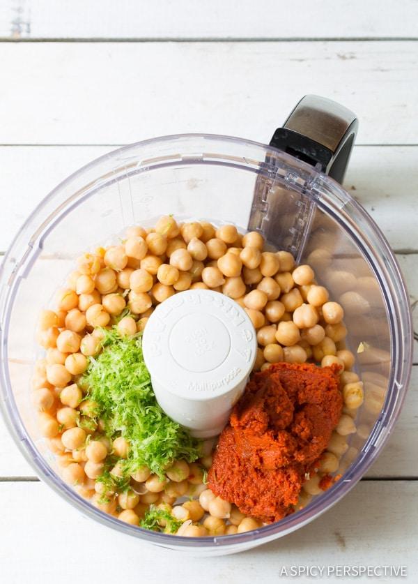 Zesty 5-Ingredient Thai Coconut Curry Hummus on ASpicyPerspective.com #hummus