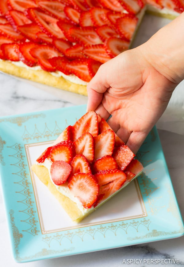 Seriously The Absolute BEST Strawberry Pizza - on ASpicyPerspective.com #strawberry #summer