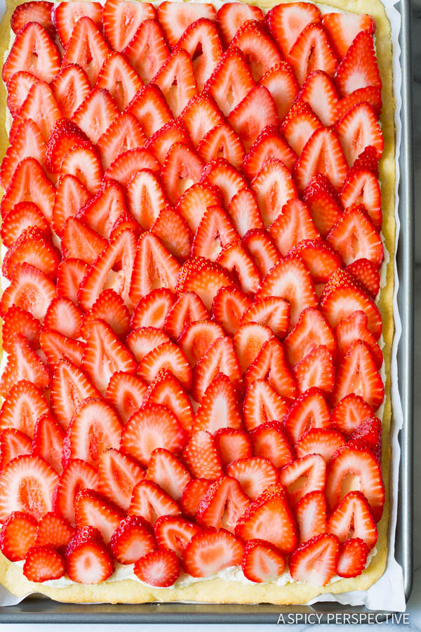 Strawberry Pizza Recipe #ASpicyPerspective #Strawberry #Fruit #SugarCookie #Pizza #StrawberryPizza #StrawberryPizzaRecipe #GoatCheese #DessertPizza #Summer #Spring #Dessert