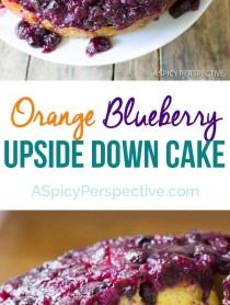 Simple Moist Orange Blueberry Upside Down Cake on ASpicyPerspective.com #cake