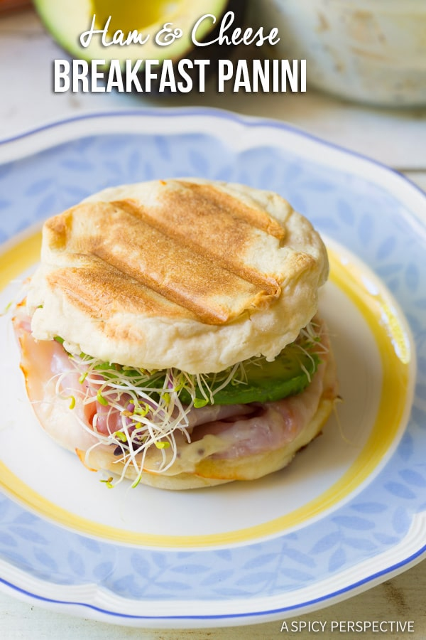 The Best Ham and Cheese Breakfast Panini on ASpicyPerspective.com