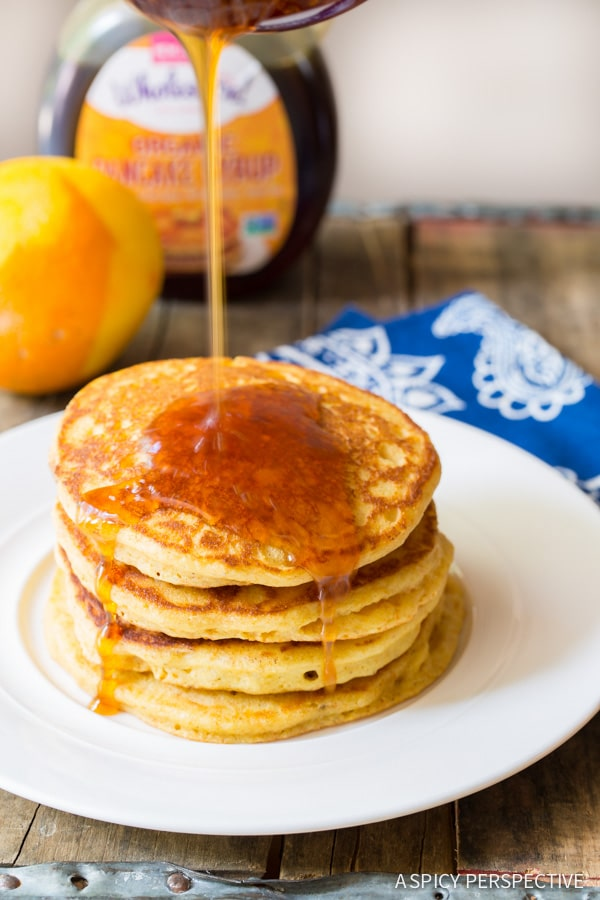 Rustc Southern Cornmeal Pancakes with Orange Syrup on ASpicyPerspective.com #breakfast #pancakes