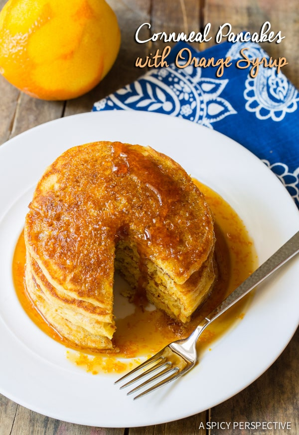 Super Fluffy Cornmeal Pancakes with Orange Syrup on ASpicyPerspective.com #breakfast #pancakes