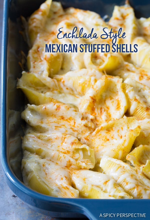 Easy Enchilada-Style Mexican Stuffed Shells on ASpicyPerspective.com