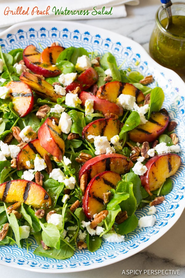 Grilled Peaches and Watercress Salad with Basil Vinaigrette on ASpicyPerspective.com #salad #peaches