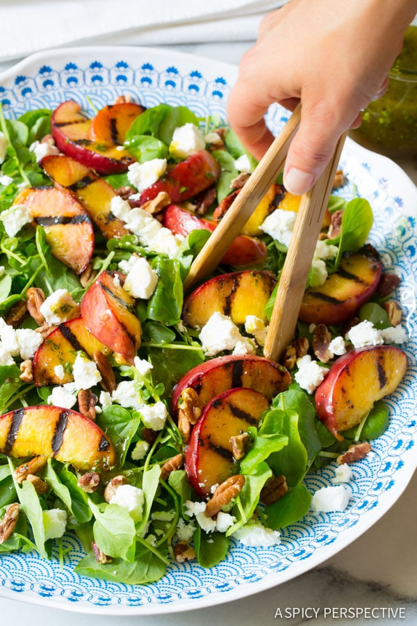 Easy to Make Grilled Peaches and Watercress Salad with Basil Vinaigrette on ASpicyPerspective.com #salad #peaches