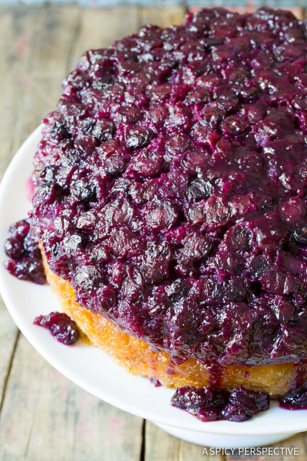 Orange Blueberry Upside Down Cake on ASpicyPerspective.com #cake