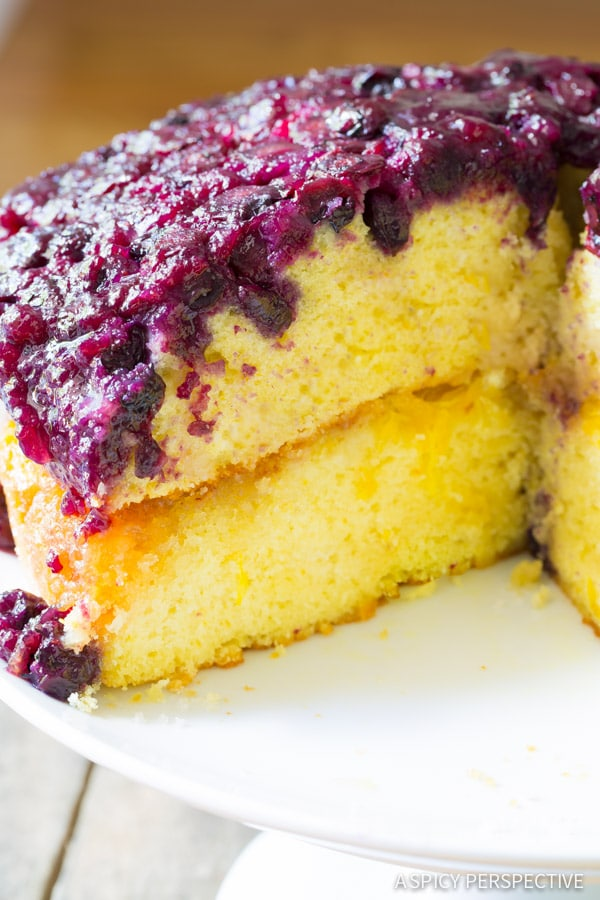 Best Ever Orange Blueberry Upside Down Cake on ASpicyPerspective.com #cake