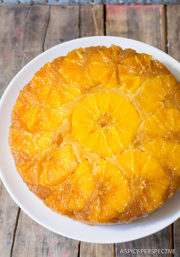Orange Upside Down Cake on ASpicyPerspective.com #cake
