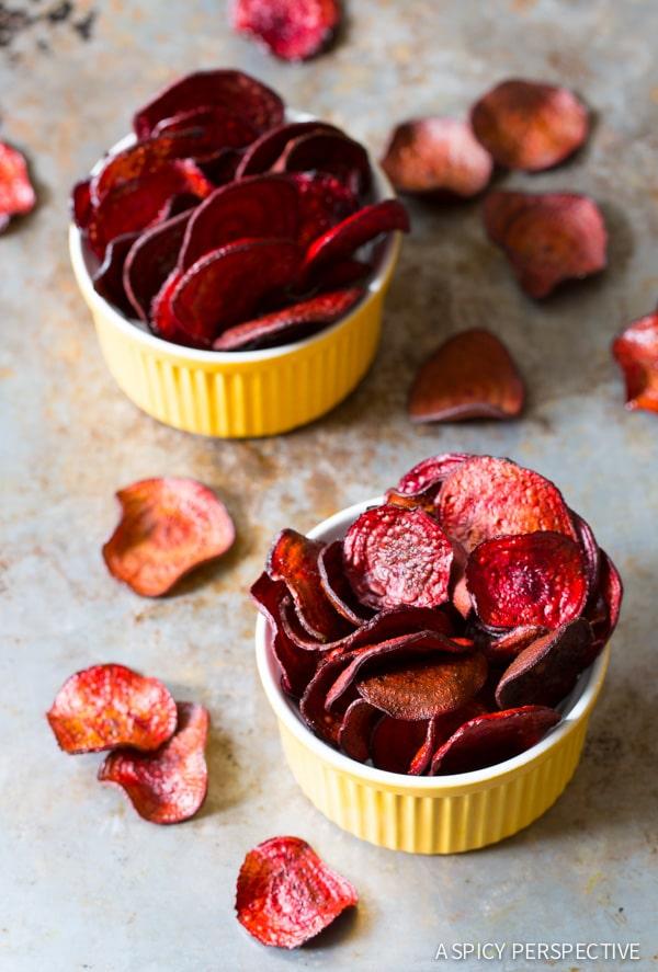 Fabulous Oven Baked Beet Chips Recipe on ASpicyPerspective.com #glutenfree #vegan #paleo #healthy