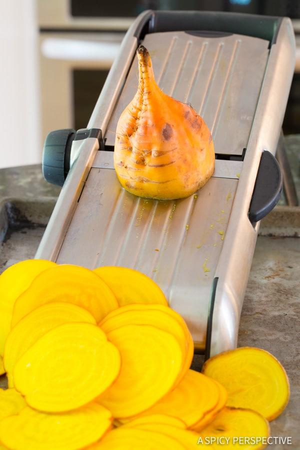 Making Oven Baked Beet Chips Recipe on ASpicyPerspective.com #glutenfree #vegan #paleo #healthy
