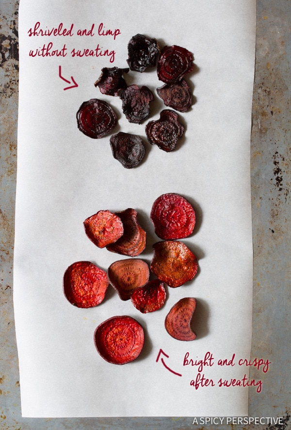 Tips for Making the Best Oven Baked Beet Chips Recipe on ASpicyPerspective.com #glutenfree #vegan #paleo #healthy