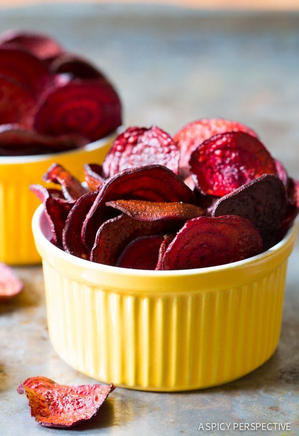 Crunchy Oven Baked Beet Chips Recipe on ASpicyPerspective.com #glutenfree #vegan #paleo #healthy