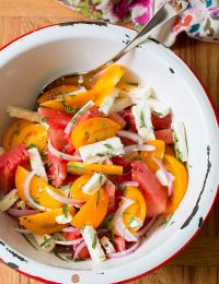 Watermelon Feta Salad with Golden Tomatoes and Tarragon on ASpicyPerspective.com #salad #chopsalad