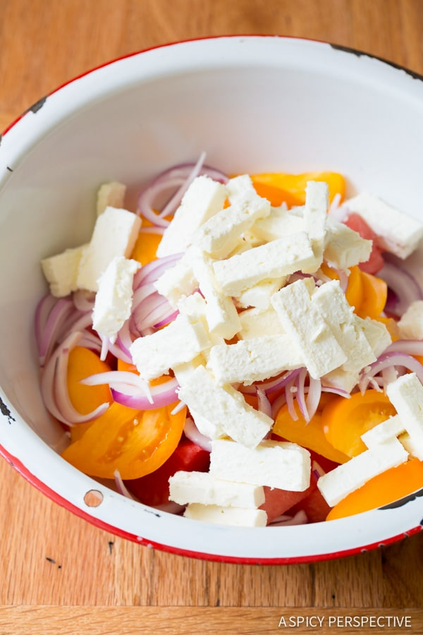 How to Make Watermelon Feta Salad with Golden Tomatoes and Tarragon on ASpicyPerspective.com #salad #chopsalad