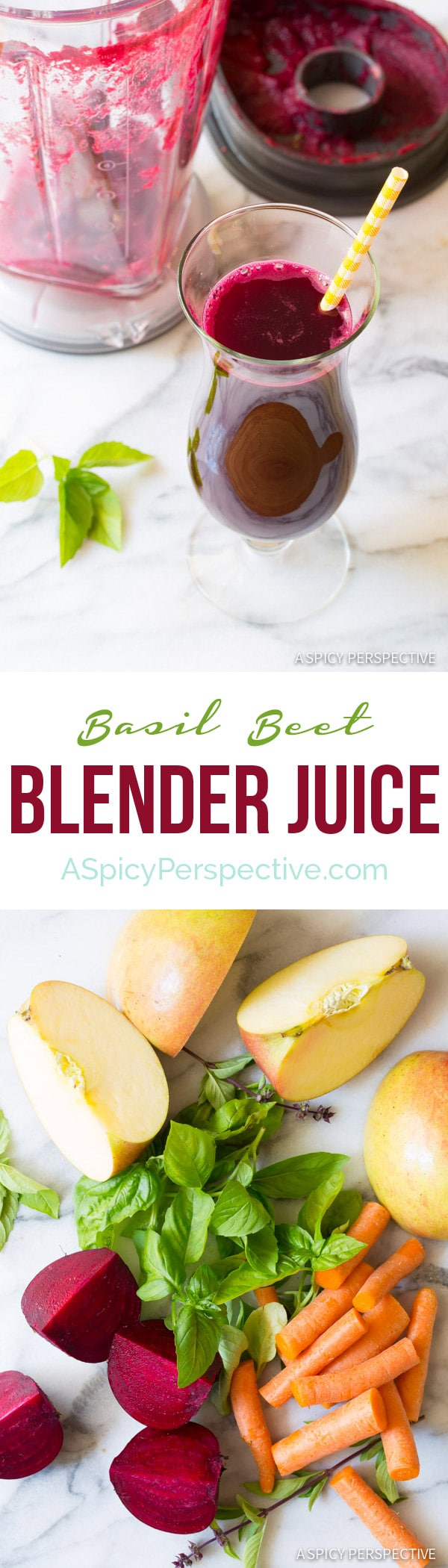 Fabulous 4 Ingredient Basil Beet Juice Recipe (Blender Juice) on ASpicyPerspective.com + An Awesome KitchenAid Torrent Magnetic Drive Blender Giveaway Valued at $599! #juice #giveaway