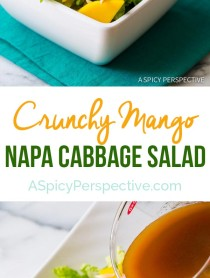My son's absolute favorite salad - Crunchy Napa Cabbage Salad with Mango and Toasted Almonds on ASpicyPerspective.com