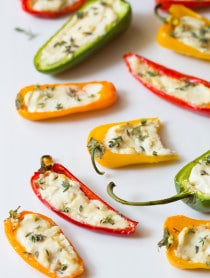 3-Ingredient Mini Stuffed Peppers Recipe on ASpicyPerspective.com - So good!