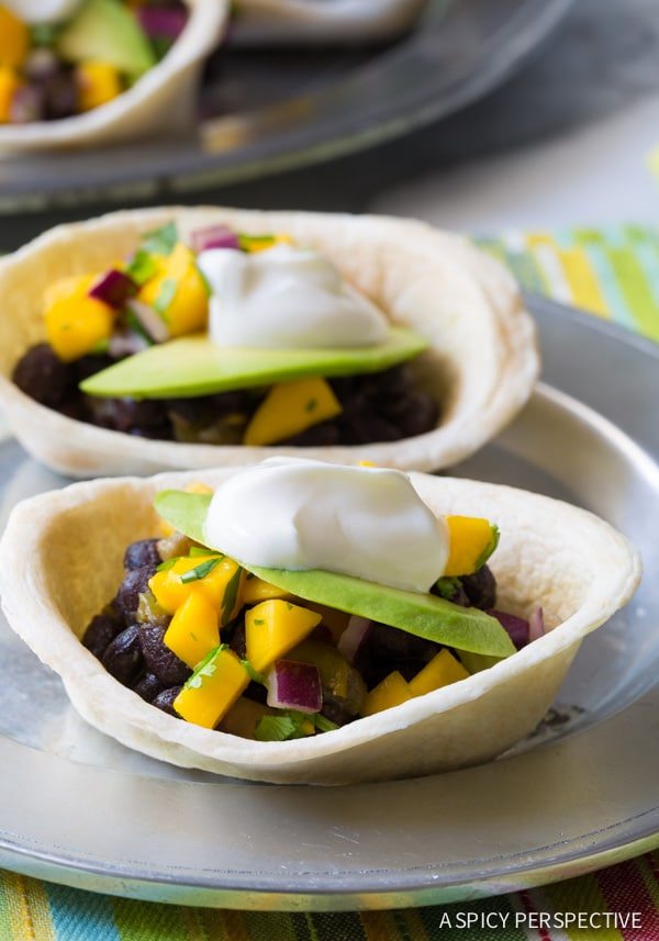 Dinner Tonight - Mini Black Bean Tacos with Mango Pico de Gallo on ASpicyPerspective.com #mexican #vegetarian