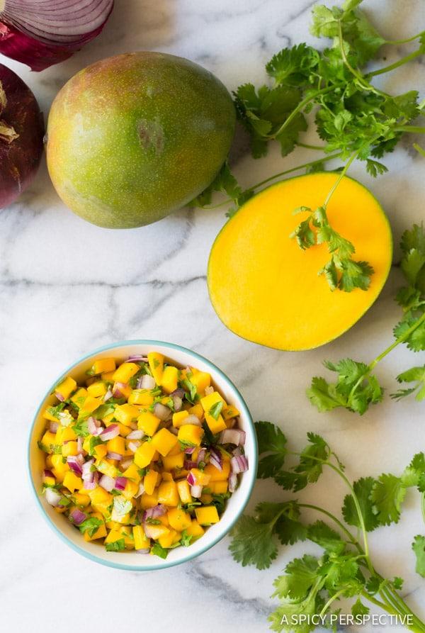 Mango Pico de Gallo on ASpicyPerspective.com #mexican #vegetarian