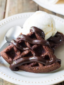 AWESOME Brownie Belgium Waffles a la Mode on ASpicyPerspective.com #chocolate