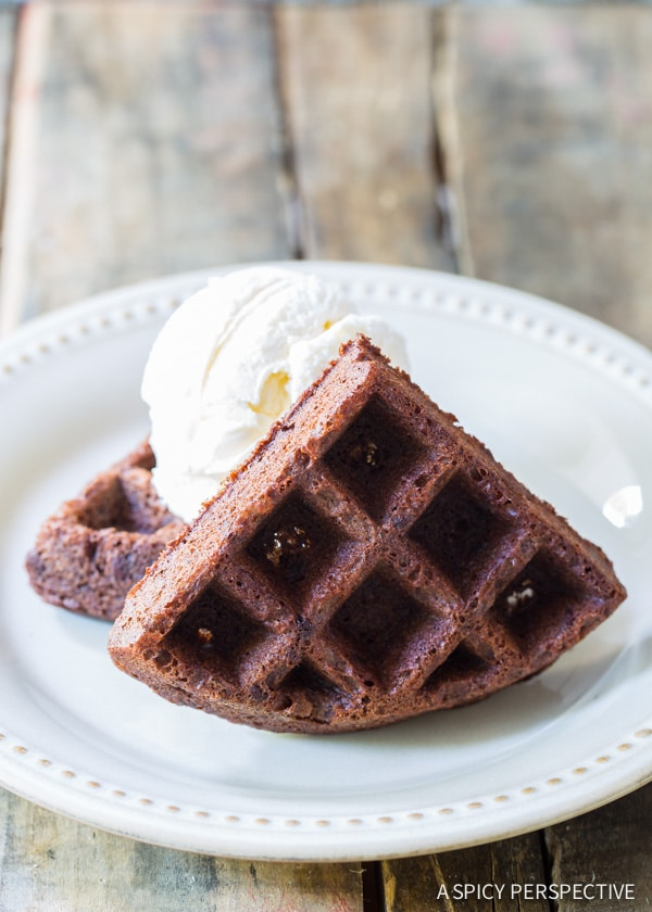 Hello Lover! Brownie Belgium Waffles a la Mode on ASpicyPerspective.com #chocolate