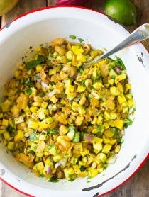 Indian Green Mango Chaat on ASpicyPerspective.com