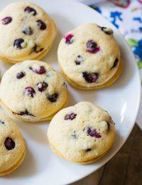 Tangy Lemon Blueberry Whoopie Pie Recipe on ASpicyPerspective.com #whoopiepie #blueberry