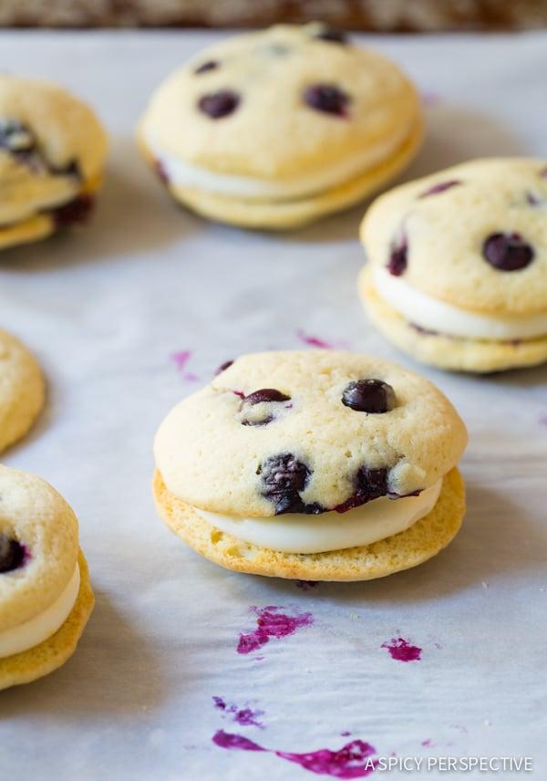 Tender Lemon Blueberry Whoopie Pie Recipe on ASpicyPerspective.com #whoopiepie #blueberry