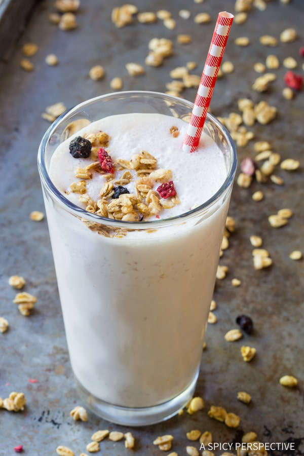 Fun and Easy Milk and Cereal Smoothie - Loaded with protein and just a handful of Cereal! ASpicyPerspective.com