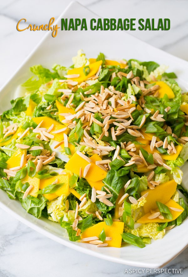 Awesome Crunchy Napa Cabbage Salad with Mango and Toasted Almonds on ASpicyPerspective.com