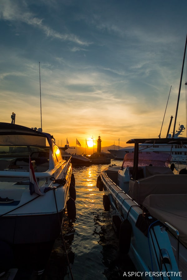 Stunning Sunset in Saint Tropez, France on ASpicyPerspective.com #travel #france