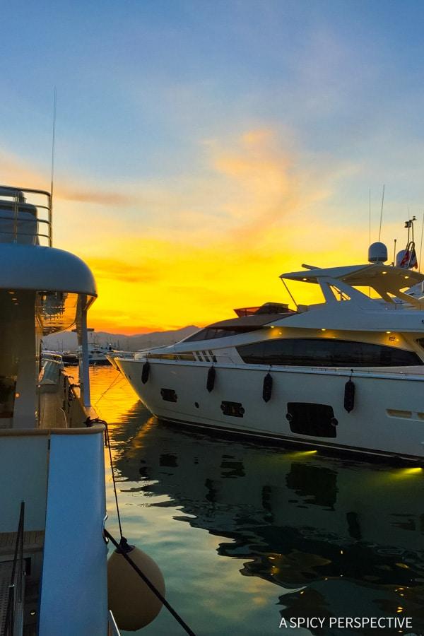 Sunset in Saint Tropez, France on ASpicyPerspective.com #travel #france