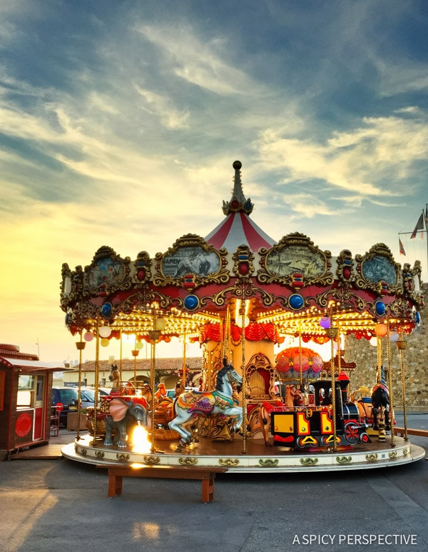 Carousel Sunset in Saint Tropez, France on ASpicyPerspective.com #travel #france