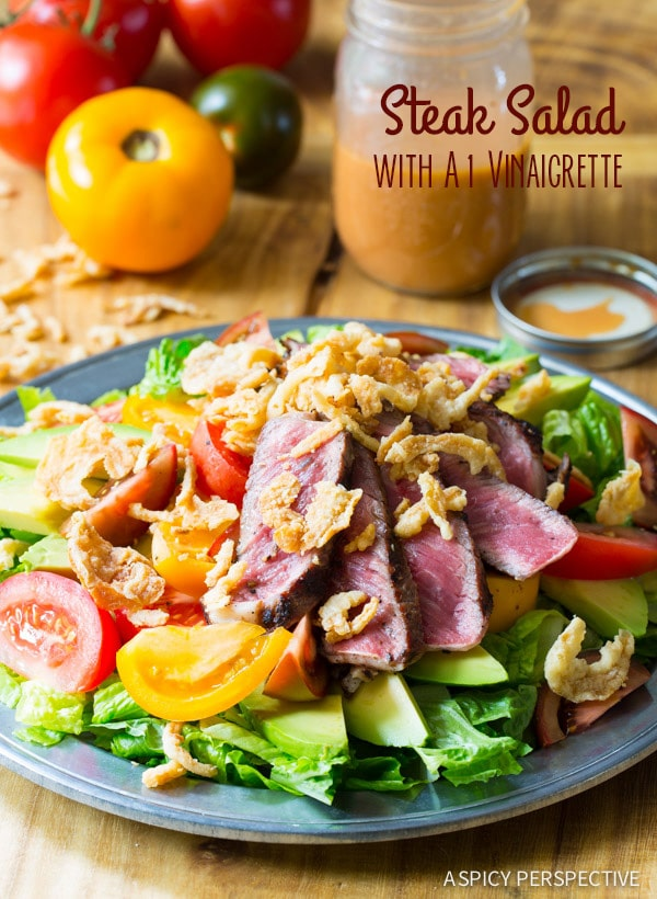 Steak Salad with A1 Vinaigrette - A Spicy Perspective