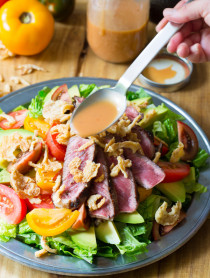 Amazing Grilled Steak Salad with A1 Vinaigrette on ASpicyPerspective.com
