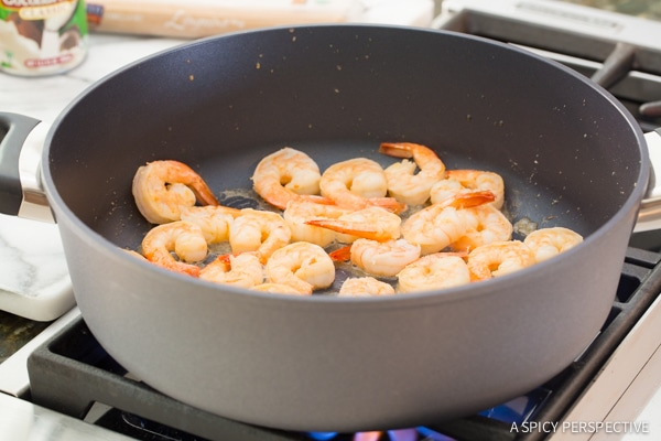 Making Easy One Pot Thai Curry Shrimp Pasta on ASpicyPerspective.com #onepotmeal