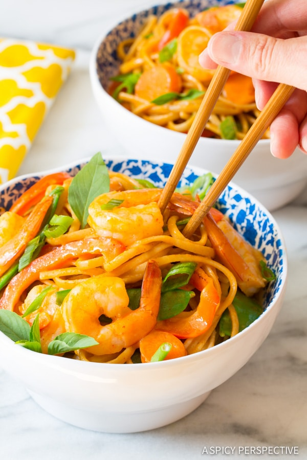 Oh Happy Day! One Pot Thai Curry Shrimp Pasta on ASpicyPerspective.com #onepotmeal