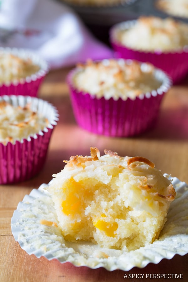 Fresh Tropical Breakfast Muffins on ASpicyPerspective.com #muffins #breakfast