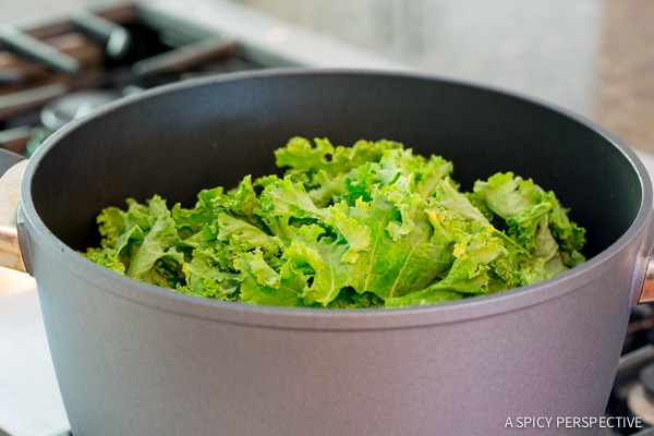 Making Wilted Honey Butter Kale Recipe on ASpicyPerspective.com #kale