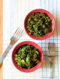 Wilted Honey Butter Kale Recipe on ASpicyPerspective.com #kale
